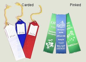 Carded Custom Ribbons or Pinked Custom Award Ribbons